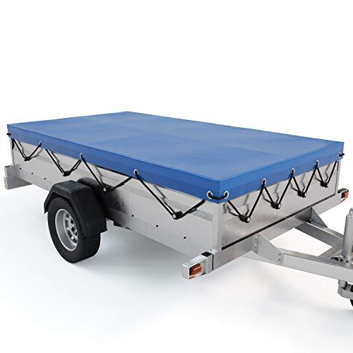 Contifix Anhängerplane Flachplane für Autoanhänger - extra randverstärkte PKW Anhänger Plane Abdeckung 2075x1140 für viele 500 kg und 750 kg Hänger - Anhänger Abdeckplane mit Gummiseil