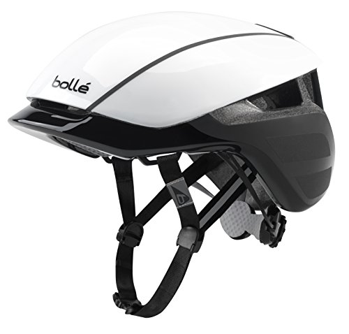 bollé Messenger Premium Hi-Vis, Casco da Bici Unisex-Adulto, White Black Shiny, Medium 54-58 cm
