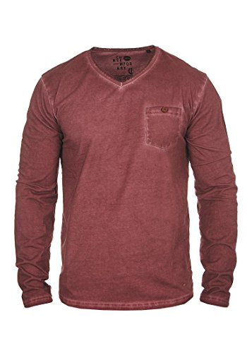 !Solid Terkel - Camiseta de Manga Larga para Hombre, tamaño:S, Color:Wine Red (0985)