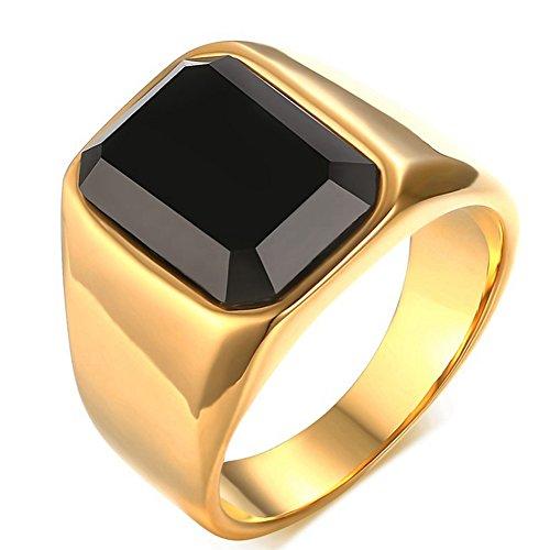 Para hombre bandas de boda Vintage 18K chapado en oro creado corte Esmeralda Anillos Diamante Negro Rock Punk estilo alta pulido tamaño 7–11