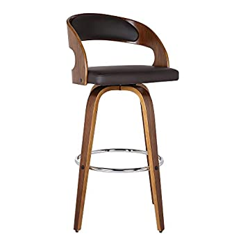 Armen Living Shelly 26  Counter Height Barstool in Brown Faux Leather and Walnut Wood Finish