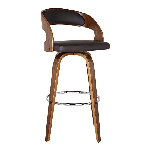 "Armen Living Shelly 26"" Counter Height Barstool in Brown Faux Leather and Walnut Wood Finish"