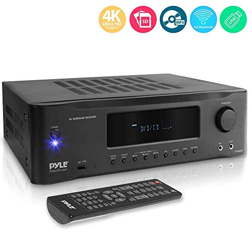 5.2-Channel Hi-Fi Bluetooth Stereo Amplifier - 1000 Watt AV Home Speaker Subwoofer Sound Receiver W/ Radio, USB, RCA, HDMI, Mic In, Wireless Streaming, Supports 4K UHD TV, 3D, Blu-Ray - Pyle PT694BT