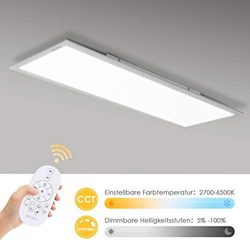 Albrillo LED Deckenleuchte-Panel - LED Panel Flach dimmbar, Farbtemperatur Einstellbar mit Fernbedienung, Warmweiss-Kaltweiss (2700-6500K), Deckenlampe für Büro, Wohnzimmer, Küche, 28W, 100x25cm