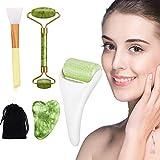 Rodillo Masajeador Facial de jade, facial Gua Sha, Rodillo de hielo para rostro y ojos, Cepillo de mascarilla de silicona, Cuidado de la Piel del Cuello del Ojo del Facial, para cuerpo cabeza cuello Naturaleza Belleza dispositivo