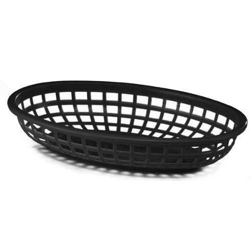 6 X Fast Food Polypropylène ovale classique Baskets, Noir, 24 x 15 x 5 cm, Burger, frites, saucisses