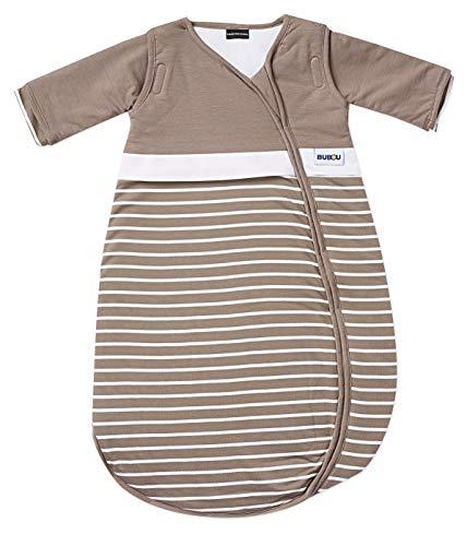 Gesslein 770178 Bubou Babyschlafsack mit abnehmbaren Ärmeln: Temperaturregulierender Ganzjahreschlafsack für Neugeborene, Baby Größe 50/60 cm, Streifen schoko, Braun