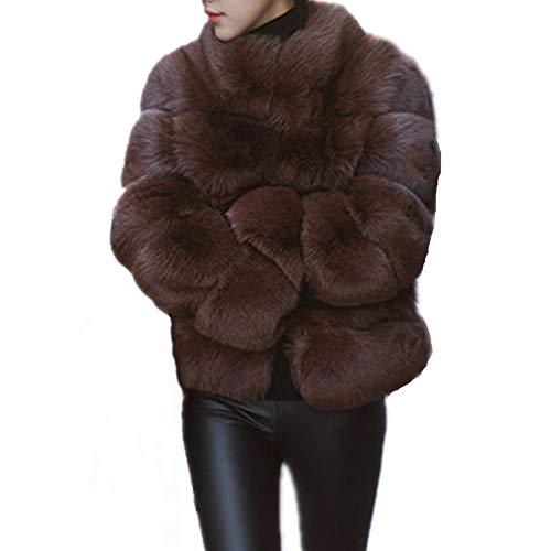 Women Winter Furs Coat Jacket Luxury Faux Fox Fur Coat Slim Long Sleeve Collar Coat Faux Fur Coat Overcoat (L, Brown)