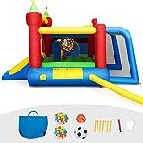 COSTWAY Château Gonflable Aire de Jeux en Nylon et Oxford avec Toboggan Panier Boules et Sac pour Enfants 380 x 305 x 215 CM
