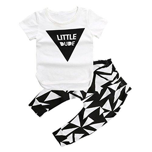 kingko® 1Réglez Summer Infant Toddler Enfants Garçons Géométrique Imprimé à Manches Courtes T-Shirt + Pantalons Vêtements (3T)