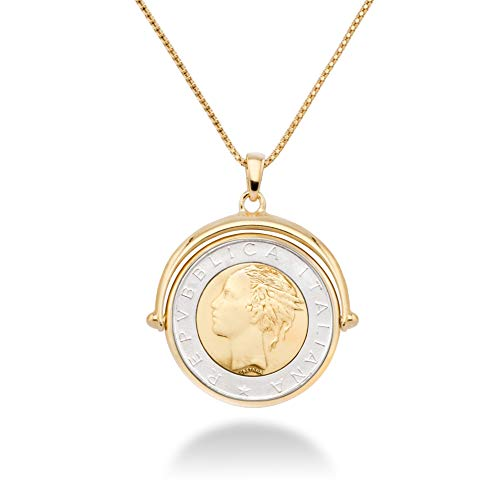 MiaBella 18K Gold Over Sterling Silver Italian Genuine 500-Lira Reversible Flip Coin Pendant Necklace for Women,18, 20 Inch Chain 925 Medallion Necklace Made in Italy (18 Inches)