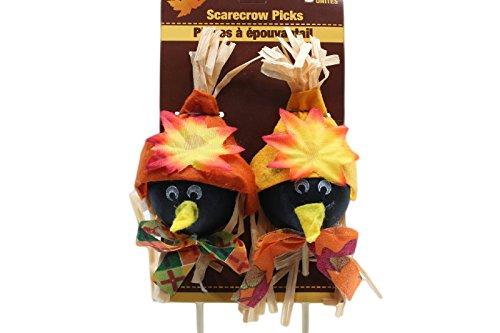 2 Count Black Crow Scarecrows Picks Fall Season Autumn Decor Harvest (Pack of 2)