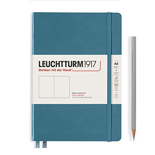 LEUCHTTURM1917 363333 Libreta de notas Medium (A5) tapas duras, 251 páginas numeradas, Stone Blue, lisa
