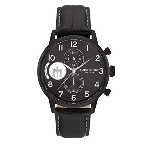 Kenneth Cole New York Reloj cronógrafo redondo negro con correa de piel auténtica para hombre