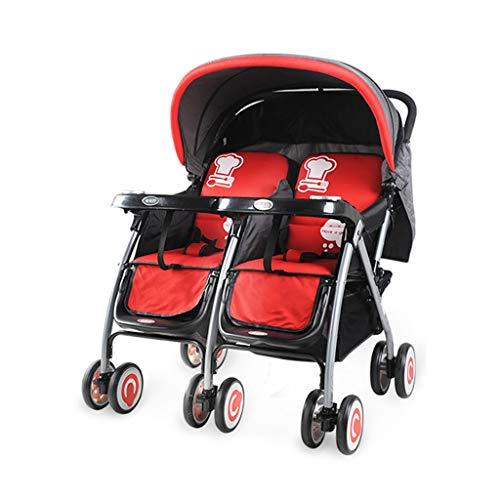 LIUX Las carriolas Dobles Pueden Sentarse y acostarse Niños Desmontables Plegables Portátiles Cochecito de absorción de Choque para Segundo niño Cochecitos Gemelos