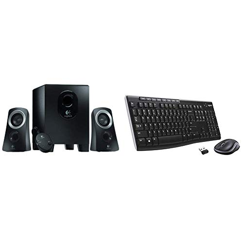 Logitech 980-000447  Speaker System - Black & MK270 Wireless Keyboard and Mouse Combo for Windows, Long Range Wireless Connection, 2.4 GHz Wireless, Black