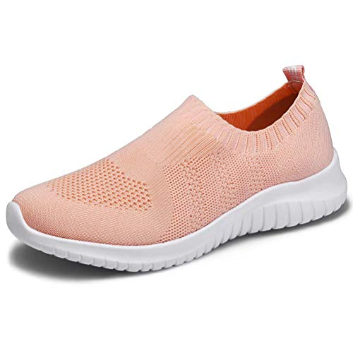 konhill Women's Walking Tennis Shoes - Lightweight Athletic Casual Gym Slip on Sneakers 6.5 US Shell Pink,37