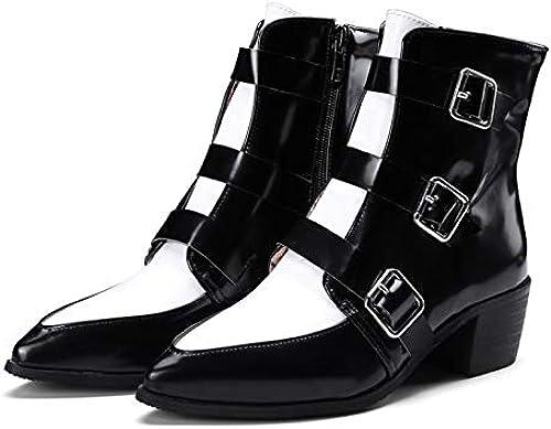 MENGLTX Sandalias Tacones Altos Nuevo Fashionnkle botas mujer Tacones Altos Spingutumn zapatos De Invierno mujer botas Cortas Tallas Grandes 32-48 4.5 negro