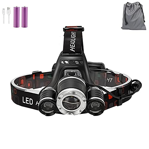 Headlamp Flashlight, Newest Version Bright LED Rechargeable Headlight, Zoomable 4-Mode Waterproof Headlamp for Adults, Perfect for Camping, Hiking, Outdoors, Hunting