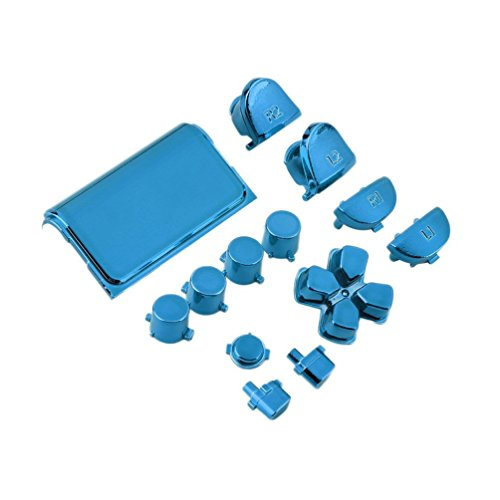 Kit de Juego Mod de reemplazo de botón Cromado Completo Adecuado para Playstation 4 Controlador Ps4 Joystick Videojuego Playstation (Azul