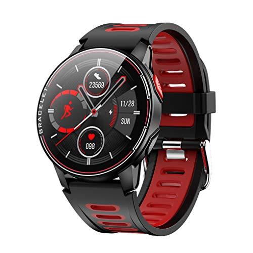 GTJXEY Inteligente Reloj Inteligente Reloj IP68 Impermeable del Deporte Hombres Mujeres Bluetooth rastreador de Ejercicios de Ritmo cardíaco,Rojo