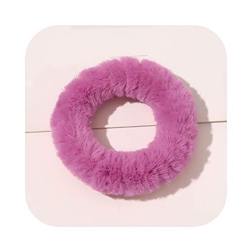 2021 invierno de piel coleteros peludos elásticos bandas para el pelo para las mujeres niñas ponytail titulares cuerda suave felpa pelo lazos accesorios-29