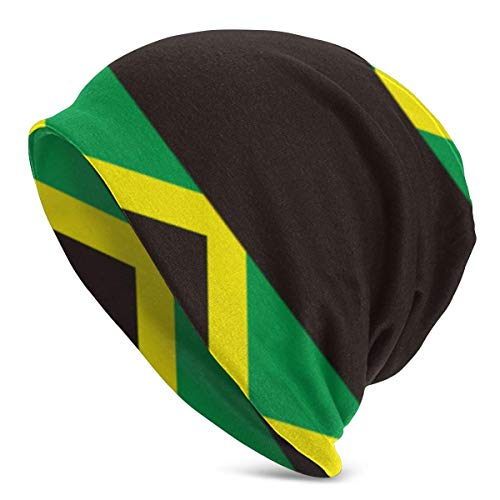 FETEAM Gorro Slouch Beanie, Transpirable, Ligero, Elástico, Suave Gorra de Calavera Bandera de Jamaica