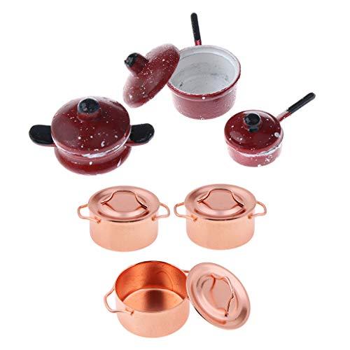 F Fityle Juego de Cocina de Platos de Placa de Metal de Vajilla de Casa de Muñecas de 6 Piezas para Modelo de Comida