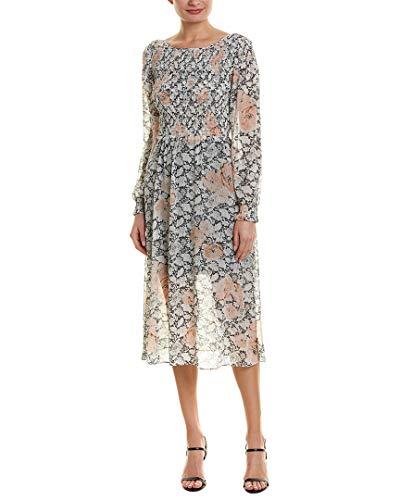 Avec Les Filles Women's Long Sleeve Floral Dress with Smocking, Blush Multi, 14