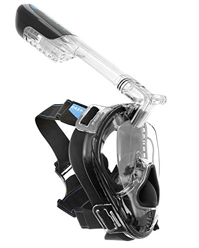 Deep Sea O2 | Only Full Face Snorkel Mask Designed to Protect Against Dangerous CO2 Build-Up | Panoramic View | Soft Nose for Diving | Anti-Fog | Camera Mount | Universal Size- Kids to Adult | Black