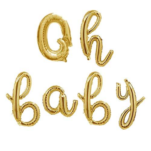 "Rose&Woodlove Oh Baby Cursive Foil Letter Balloons Banner Oh Baby Sign Script Balloons Baby Shower Gender Reveal,16"",Gold"