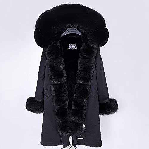JNXFUZMG 2020 Mujeres de Invierno Abrigo Largo Abrigo de Moda Parques con Capucha Cuello Natural Chaquetas de Invierno (Color : 5, Size : XX-Large)
