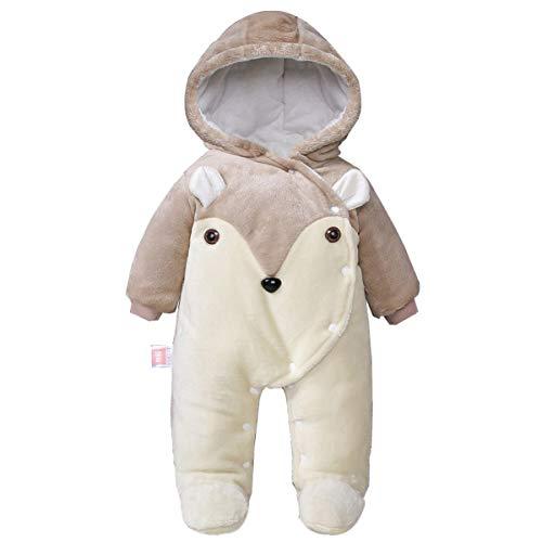 Minizone Bebé con capucha mamelucos franela Conjuntos de Invierno Niño Niña snowsuits pies cubiertos Umpsuit para 36 Meses J