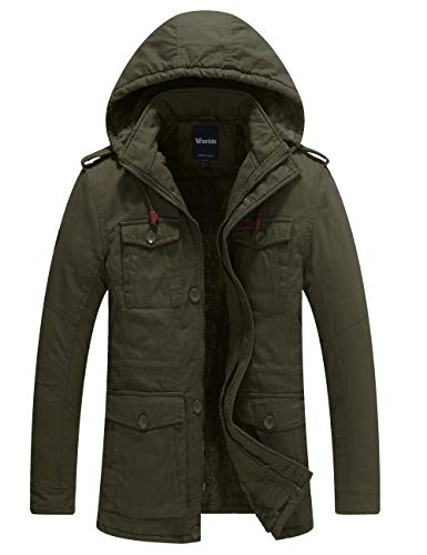 Wantdo Men's Thicken Cotton Parka Jacket Hooded Casual Winter Coat(Army Green,L)
