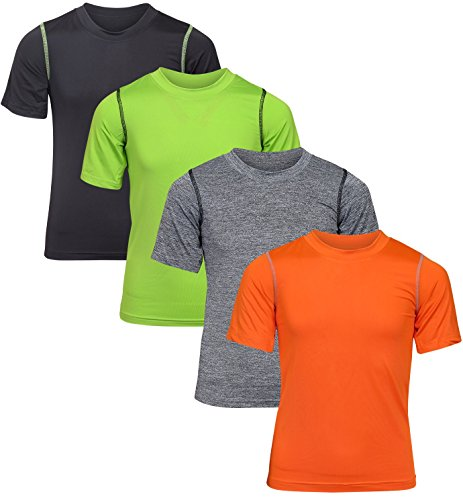 Black Bear Boy's Performance Dry-Fit T-Shirts (4 Pack), Black/Green/Grey/Orange, Large/12-14