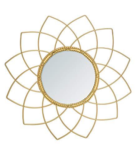 Atmosphera - Espejo metálico dorado colección Bohème D 24 cm, dorado, cm