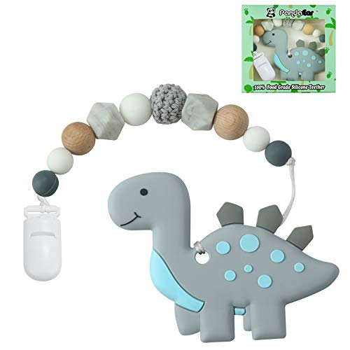PandaEar Baby Dinosaur Training Massaging Toy Teether | Soothes Gums Promotes Healthy Oral Development | Food Grade Soft Safe BPAFree Silicone Natural Organic | Babies Toddlers Infants