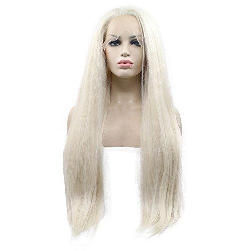 Perruque Yaki 60 # blond platine raide synthétique avec dentelle frontale, densité de 180 %, cheveux naturels à moitié attachés à la main, pour femme