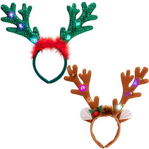 2 Pcs Christmas Reindeer Headband, Light-Up Reindeer Headbands with LED, Christmas Headbands for Christmas Supplies and Holiday Parties Favors (ONE SIZE FITS ALL)