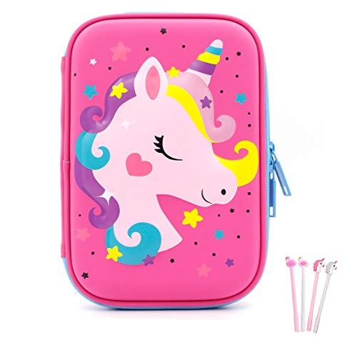 Pencil Case, iDelta 3D Cute EVA Unicorn Pen Pouch Stationery Box Anti-Shock Large Capacity Multi-Compartment for School Students Teens (Unicorn2 Pink)