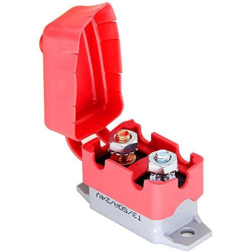 ANCLLO 50A Disyuntores de reinicio automático 12V / 24V DC Disyuntores de parada corta con tapa y tornillos para coche, camión, RV, buse, cortacésped, motocicleta, barco, cargador de batería