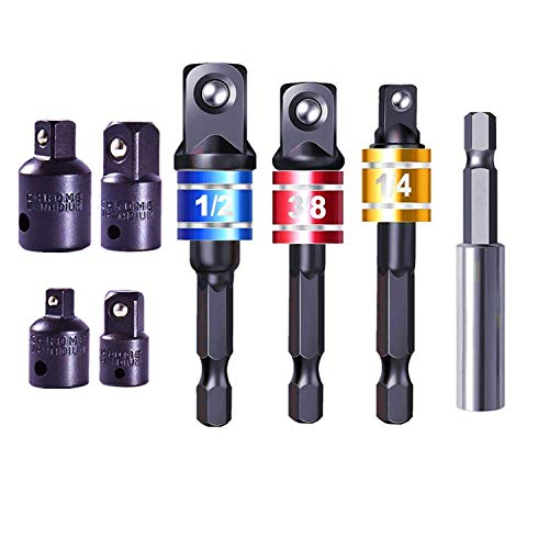Siundam Adaptador para Llave de Carraca, Juego de 4 Pzas Adaptadores de 1/4', 3/8', 1/2' +Set con 3 Pzas de Color Aluminio adaptadores 1/4' hex-1/4-3/8' 1/2' Llave de Vaso