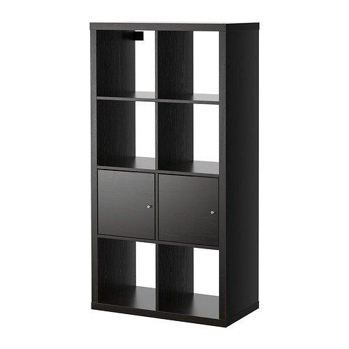 IKEA KALLAX - mueble con puertas, negro-marrón - 77 x 147 cm