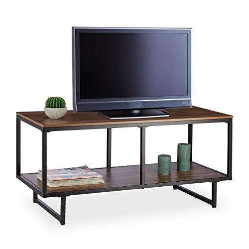 Relaxdays, braun Melamin TV-Lowboard, Holzoptik, Pflegeleichte Ablagen, HiFi-Rack & Konsolentisch, HBT: 50 x 110 x 45 cm, Standard