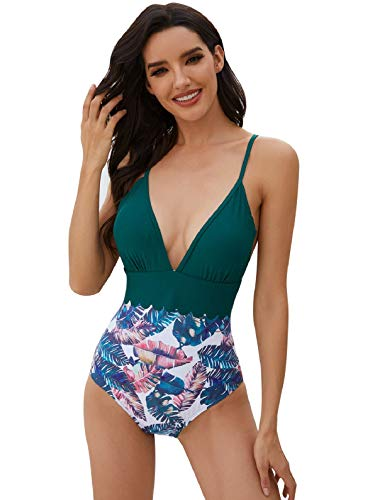 UMIPUBO Donna Trikini Costumi da Bagno Interi, Sexy Stampa Bikini Brasiliana, Push Up Elegante Costumi Sottile Trikini Tankini S - XXL, Moda Bikini a Fascia per Piaggia Piscina Spa