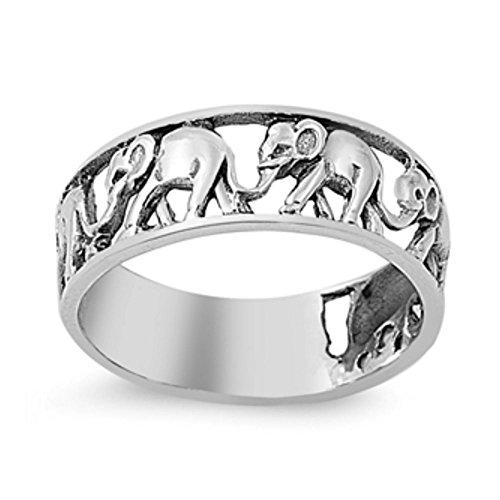 Sterlingsilber-Elefant-Ring