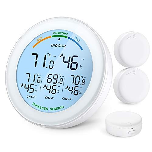Brifit Termómetro Higrómetro Digital con 3 Sensores, Termómetro Inalámbrico Interior Exterior con LCD, Pantalla de Confort, Monitor de Temperatura y Humedad para Hogar, Oficina, invernadero