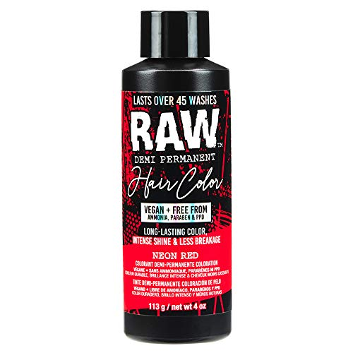 RAW Neon Red Demi-Permanent Hair Color, Vegan, Free from Ammonia, Paraben & PPD, lasts over 45 washes, 4oz
