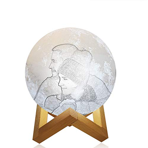 Souljewelry 3D Lámpara de Luna Luz de Noche Planeta Personalizada con su Foto y Palabras USB Recargable 12 Horas duración con Soporte de Madera y Control táctil Dos Colores de Brillo