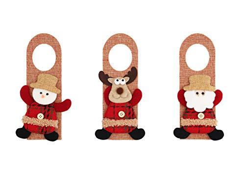 Alona Christmas Decorations Door Hanger 3Pcs, Burlap Santa Snowman and Elk, Indoor Door Decor Knob Hanging Ornament & Pendants